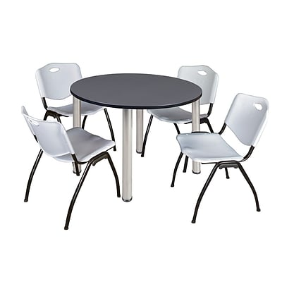 Regency Kee 48 Round Breakroom Table- Grey/ Chrome & 4 M Stack Chairs- Grey