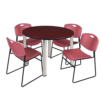 Regency Kee 48 Round Breakroom Table- Mahogany/ Chrome & 4 Zeng Stack Chairs- Burgundy