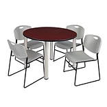 Regency Kee 48 Round Breakroom Table- Mahogany/ Chrome & 4 Zeng Stack Chairs- Grey