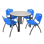 Regency Kee 48 Round Breakroom Table- Maple/ Black & 4 M Stack Chairs- Blue