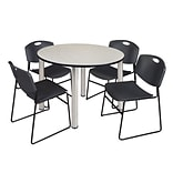 Regency Kee 48 Round Breakroom Table- Maple/ Chrome & 4 Zeng Stack Chairs- Black