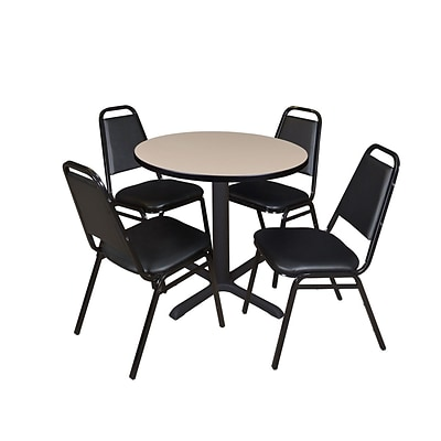 Regency Cain 30 Round Breakroom Table- Beige & 4 Restaurant Stack Chairs- Black
