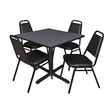 Regency Cain 36 Square Breakroom Table- Grey & 4 Restaurant Stack Chairs- Black