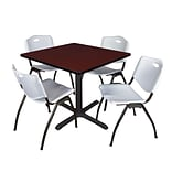 Regency Cain 36 Square Breakroom Table- Mahogany & 4 M Stack Chairs- Grey