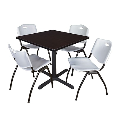 Regency Cain 36 Square Breakroom Table- Mocha Walnut & 4 M Stack Chairs- Grey