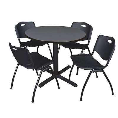 Regency Cain 36 Round Breakroom Table- Grey & 4 M Stack Chairs- Black