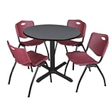 Regency Cain 36 Round Breakroom Table- Grey & 4 M Stack Chairs- Burgundy