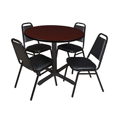 Regency Cain 36 Round Breakroom Table- Mahogany & 4 Restaurant Stack Chairs- Black