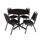 Regency Cain 36 Round Breakroom Table- Mocha Walnut & 4 Restaurant Stack Chairs- Black