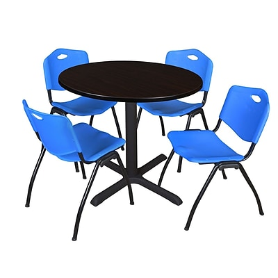 Regency Cain 36 Round Breakroom Table- Mocha Walnut & 4 M Stack Chairs- Blue