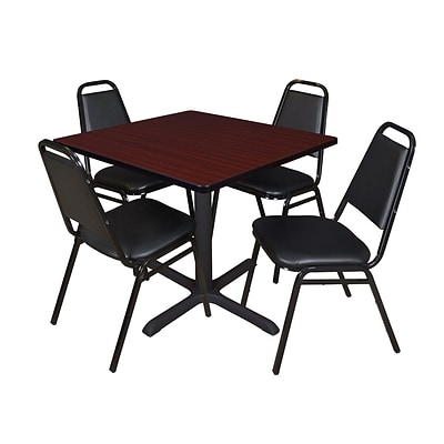 Regency Cain 42 Square Breakroom Table- Mahogany & 4 Restaurant Stack Chairs- Black