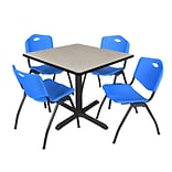 Regency Cain 42 Square Breakroom Table- Maple & 4 M Stack Chairs- Blue