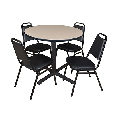 Regency Cain 42 Round Breakroom Table- Beige & 4 Restaurant Stack Chairs- Black