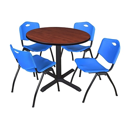 Regency Cain 42 Round Breakroom Table- Cherry & 4 M Stack Chairs- Blue