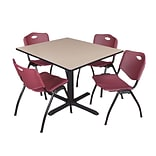 Regency Cain 48 Square Breakroom Table- Beige & 4 M Stack Chairs- Burgundy