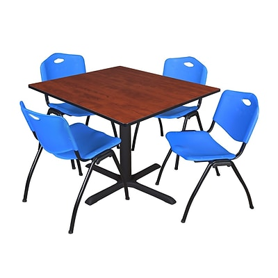 Regency Cain 48 Square Breakroom Table- Cherry & 4 M Stack Chairs- Blue