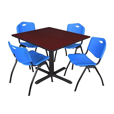 Regency Cain 48 Square Breakroom Table- Mahogany & 4 M Stack Chairs- Blue