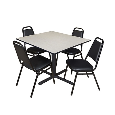 Regency Cain 48 Square Breakroom Table- Maple & 4 Restaurant Stack Chairs- Black