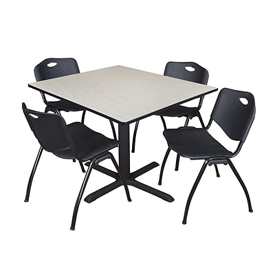 Regency Cain 48 Square Breakroom Table- Maple & 4 M Stack Chairs- Black