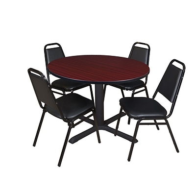 Regency Cain 48 Round Breakroom Table- Mahogany & 4 Restaurant Stack Chairs- Black