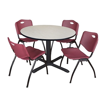 Regency Cain 48 Round Breakroom Table- Maple & 4 M Stack Chairs- Burgundy