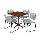 Regency Kobe 30 Square Breakroom Table- Cherry & 4 Zeng Stack Chairs- Grey