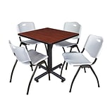 Regency Kobe 30 Square Breakroom Table- Cherry & 4 M Stack Chairs- Grey