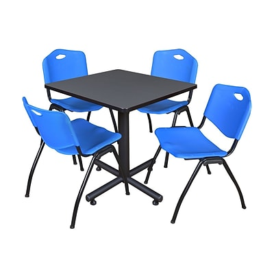 Regency Kobe 30 Square Breakroom Table- Grey & 4 M Stack Chairs- Blue