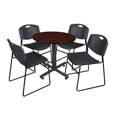 Regency Kobe 30 Round Breakroom Table- Mahogany & 4 Zeng Stack Chairs- Black