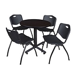 Regency Kobe 30 Round Breakroom Table- Mocha Walnut & 4 M Stack Chairs- Black