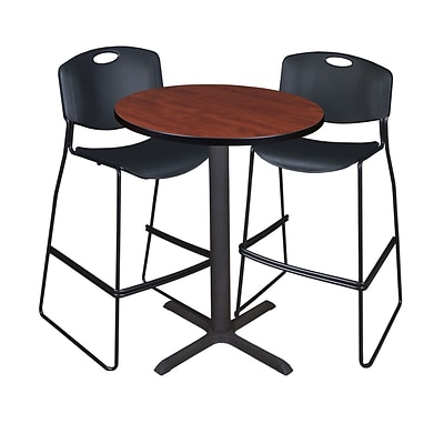 Regency Cain 30 Round Cafe Table- Cherry & 2 Zeng Stack Stools- Black