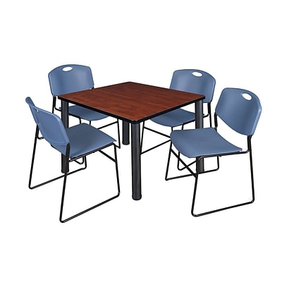 Regency Kee 42 Square Breakroom Table- Cherry/ Black & 4 Zeng Stack Chairs- Blue