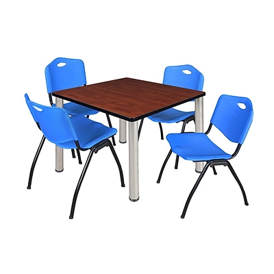 Regency Kee 42 Square Breakroom Table- Cherry/ Chrome & 4 M Stack Chairs- Blue