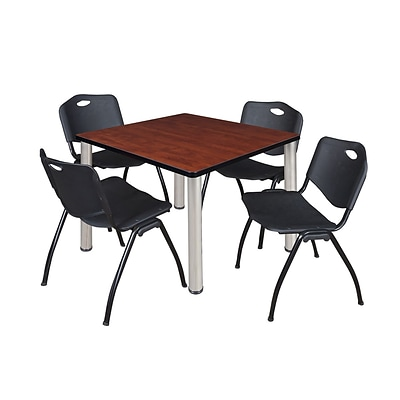 Regency Kee 42 Square Breakroom Table- Cherry/ Chrome & 4 M Stack Chairs- Black