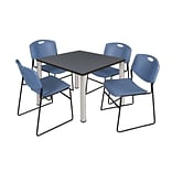 Regency Kee 42 Square Breakroom Table- Grey/ Chrome & 4 Zeng Stack Chairs- Blue