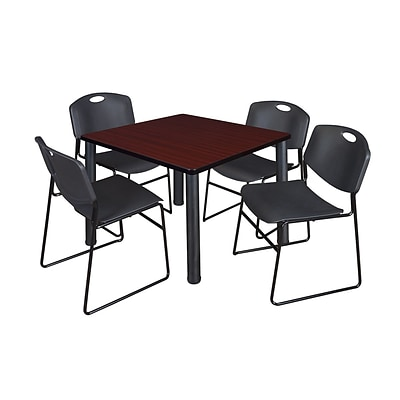 Regency Kee 42 Square Breakroom Table- Mahogany/ Black & 4 Zeng Stack Chairs- Black