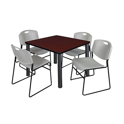 Regency Kee 42 Square Breakroom Table- Mahogany/ Black & 4 Zeng Stack Chairs- Grey