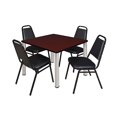 Regency Kee 42 Square Breakroom Table- Mahogany/ Chrome & 4 Restaurant Stack Chairs- Black