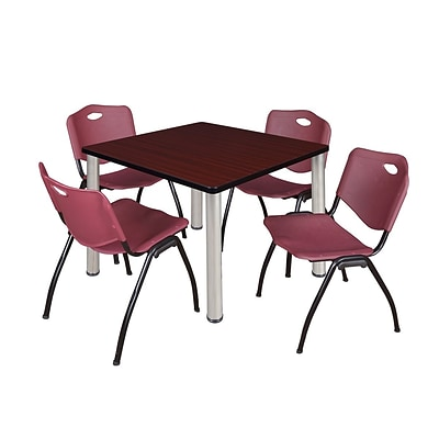 Regency Kee 42 Square Breakroom Table- Mahogany/ Chrome & 4 M Stack Chairs- Burgundy