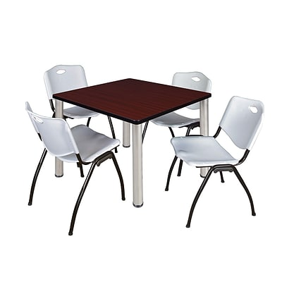 Regency Kee 42 Square Breakroom Table- Mahogany/ Chrome & 4 M Stack Chairs- Grey