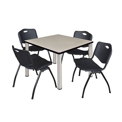Regency Kee 42 Square Breakroom Table- Maple/ Chrome & 4 M Stack Chairs- Black