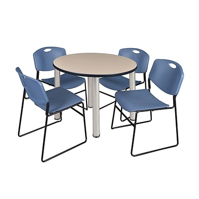 Regency Kee 42 Round Breakroom Table- Beige/ Chrome & 4 Zeng Stack Chairs- Blue