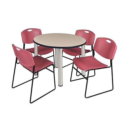 Regency Kee 42 Round Breakroom Table- Beige/ Chrome & 4 Zeng Stack Chairs- Burgundy