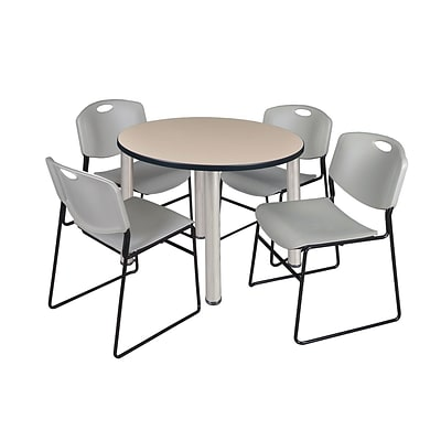 Regency Kee 42 Round Breakroom Table- Beige/ Chrome & 4 Zeng Stack Chairs- Grey