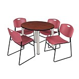 Regency Kee 42 Round Breakroom Table- Cherry/ Chrome & 4 Zeng Stack Chairs- Burgundy