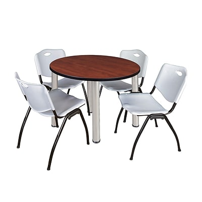 Regency Kee 42 Round Breakroom Table- Cherry/ Chrome & 4 M Stack Chairs- Grey