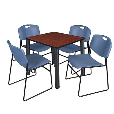 Regency Kee 30 Square Breakroom Table- Cherry/ Black & 4 Zeng Stack Chairs- Blue