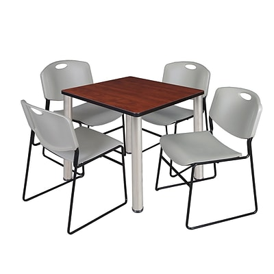 Regency Kee 30 Square Breakroom Table- Cherry/ Chrome & 4 Zeng Stack Chairs- Grey