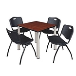 Regency Kee 30 Square Breakroom Table- Cherry/ Chrome & 4 M Stack Chairs- Black