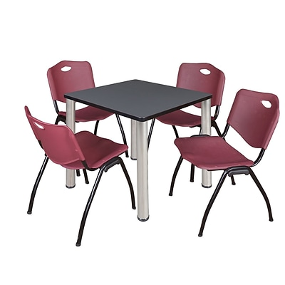 Regency Kee 30 Square Breakroom Table- Grey/ Chrome & 4 M Stack Chairs- Burgundy